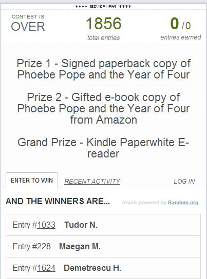 Winners Phoebe Pope and the Year of Four by Nya Jade
